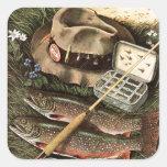 Todavía pesca de vida pegatina cuadrada