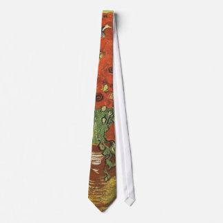 Todavía vida - amapolas y tarimas rojas corbatas personalizadas