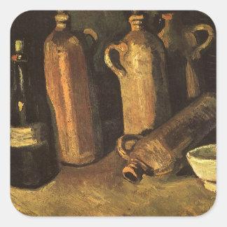 Todavía vida con 4 botellas de piedra; Vincent van Pegatina Cuadrada