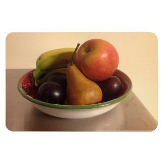 Todavía vida con Apple, los plátanos, la pera y lo Iman Rectangular