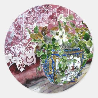 todavía vida con arte de la pintura de la acuarela pegatina redonda