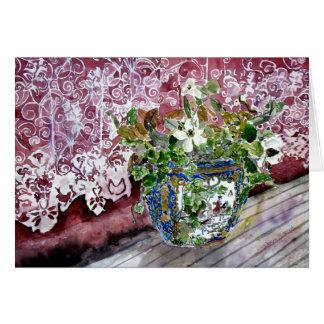 todavía vida con arte de la pintura de la acuarela tarjeta de felicitación