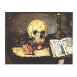 Todavía vida con el cráneo, la vela, y el libro postales
