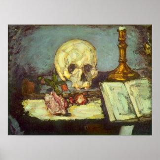 Todavía vida con el cráneo, vela, libro por póster