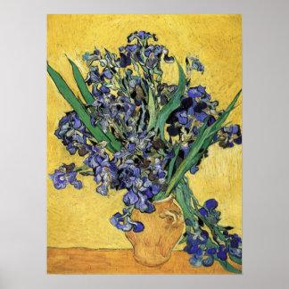 Todavía vida con el iris de Vincent van Gogh Póster
