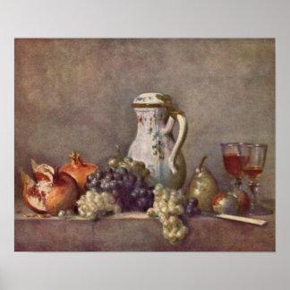 Todavía vida con el jarro de la porcelana de Jean Poster