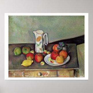 Todavía vida con el jarro de leche y la fruta, c.1 póster