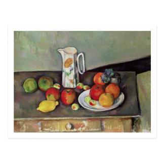 Todavía vida con el jarro de leche y la fruta, c.1 postal