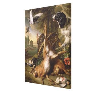 Todavía vida con el juego y las liebres muertos impresión de lienzo