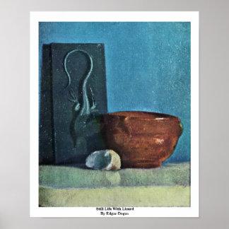 Todavía vida con el lagarto de Edgar Degas Posters