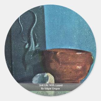 Todavía vida con el lagarto de Edgar Degas Pegatina Redonda
