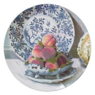 Todavía vida con el melón, Claude Monet 1872 Plato De Comida