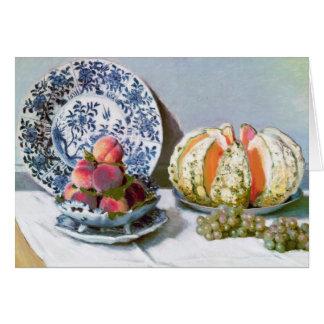 Todavía vida con el melón, Claude Monet 1872 Tarjeta Pequeña