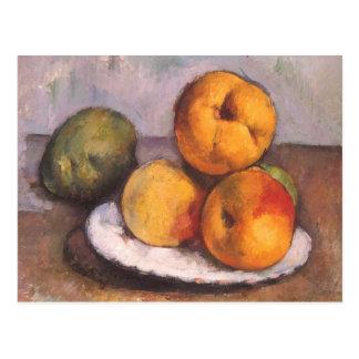Todavía vida con el membrillo, manzanas, peras por postales