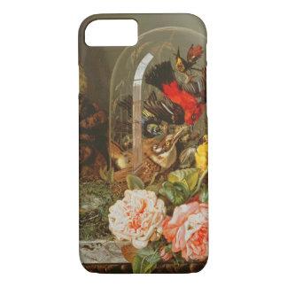 Todavía vida con el pájaro del tarareo en una funda iPhone 7