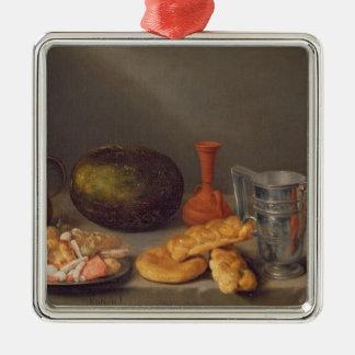 Todavía vida con el pan, 1648 adorno navideño cuadrado de metal