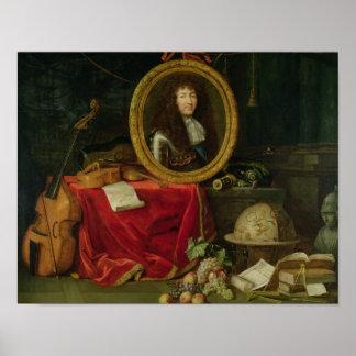 Todavía vida con el retrato de rey Louis Póster