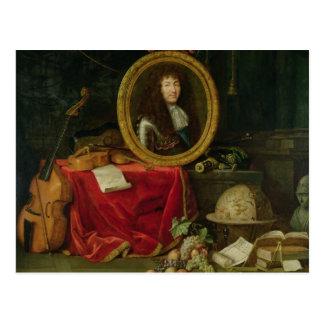 Todavía vida con el retrato de rey Louis Postal
