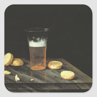 Todavía vida con el vidrio de cerveza pegatina cuadrada