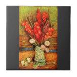 Todavía vida con gladiolas rojos de Van Gogh Tejas