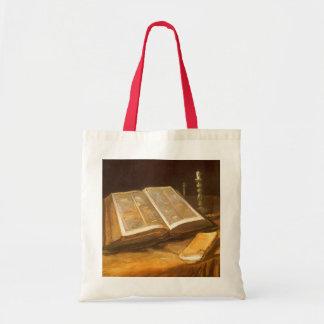 Todavía vida con la biblia de Vincent van Gogh Bolsa Tela Barata