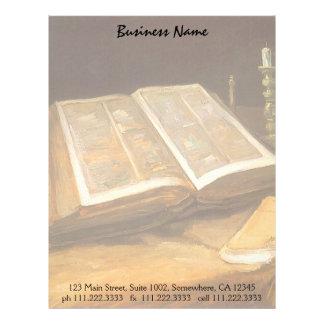 Todavía vida con la biblia de Vincent van Gogh Membrete A Diseño