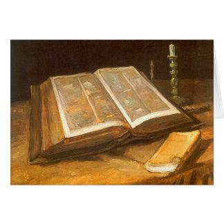 Todavía vida con la biblia Vincent van Gogh navi Felicitacion