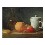 Todavía vida con la botella de la fruta y de vino tarjetas postales