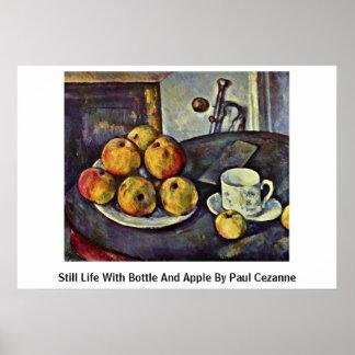 Todavía vida con la botella y Apple de Paul Cezann Impresiones