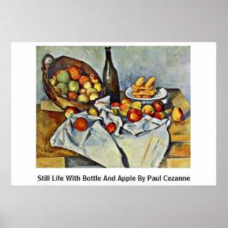 Todavía vida con la botella y Apple de Paul Cezann Posters