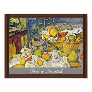 Todavía vida con la cesta de fruta de Paul Cézanne Invitaciones Personalizada