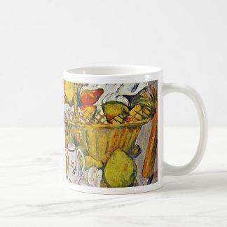 Todavía vida con la cesta de fruta de Paul Cézanne Tazas