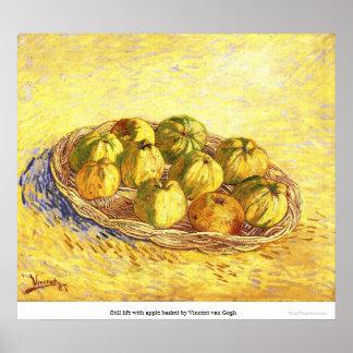 Todavía vida con la cesta de la manzana de Vincent Poster