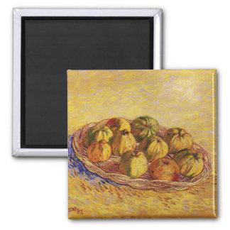Todavía vida con la cesta de manzanas de Van Gogh Imán Para Frigorifico
