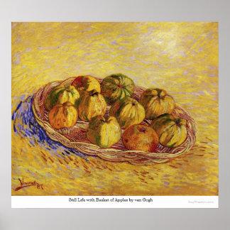 Todavía vida con la cesta de manzanas de Van Gogh Poster
