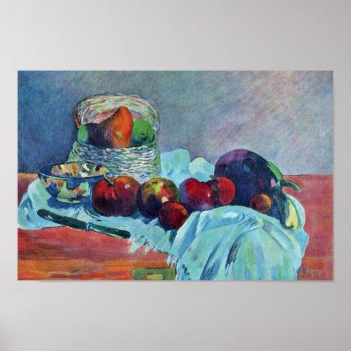 Todavía vida con la cesta y el cuchillo de fruta p impresiones