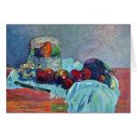 Todavía vida con la cesta y el cuchillo de fruta p felicitación