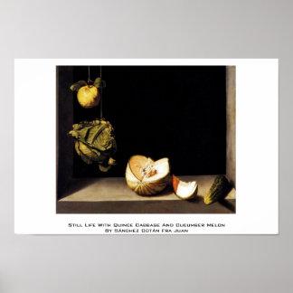 Todavía vida con la col del membrillo y el melón d póster