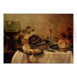 Todavía vida con la empanada de la fruta, 1635 felicitación