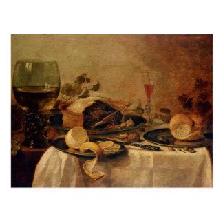 Todavía vida con la empanada de la fruta, 1635 postal
