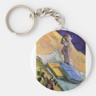 Todavía vida con la figurilla del yeso de Van Gogh Llavero Redondo Tipo Pin