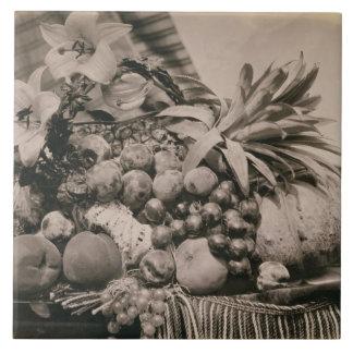 Todavía vida con la fruta, 1860 (foto de la sepia) azulejo cuadrado grande