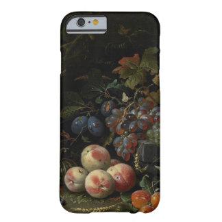 Todavía vida con la fruta, el follaje y los funda para iPhone 6 barely there