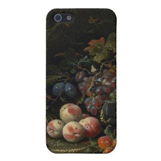 Todavía vida con la fruta, el follaje y los insect iPhone 5 fundas