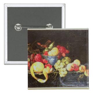 Todavía vida con la fruta en el cuenco de Delft, i Pin Cuadrada 5 Cm