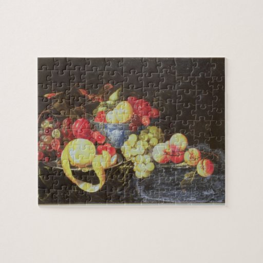 Todavía vida con la fruta en el cuenco de Delft, i Puzzle