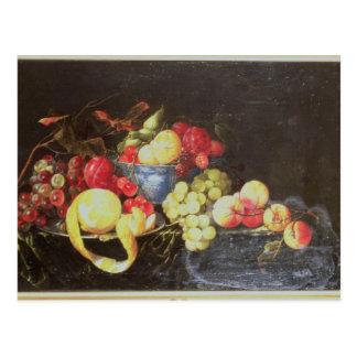 Todavía vida con la fruta en el cuenco de Delft, Postal