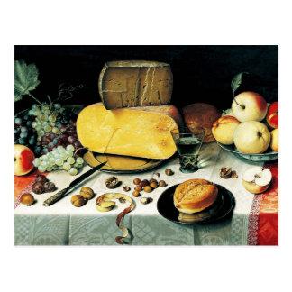 Todavía vida con la fruta, las nueces y el queso tarjeta postal