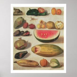 Todavía vida con la fruta y el sapo poster