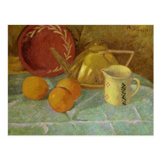 Todavía vida con la fruta y la jarra o tarjeta postal